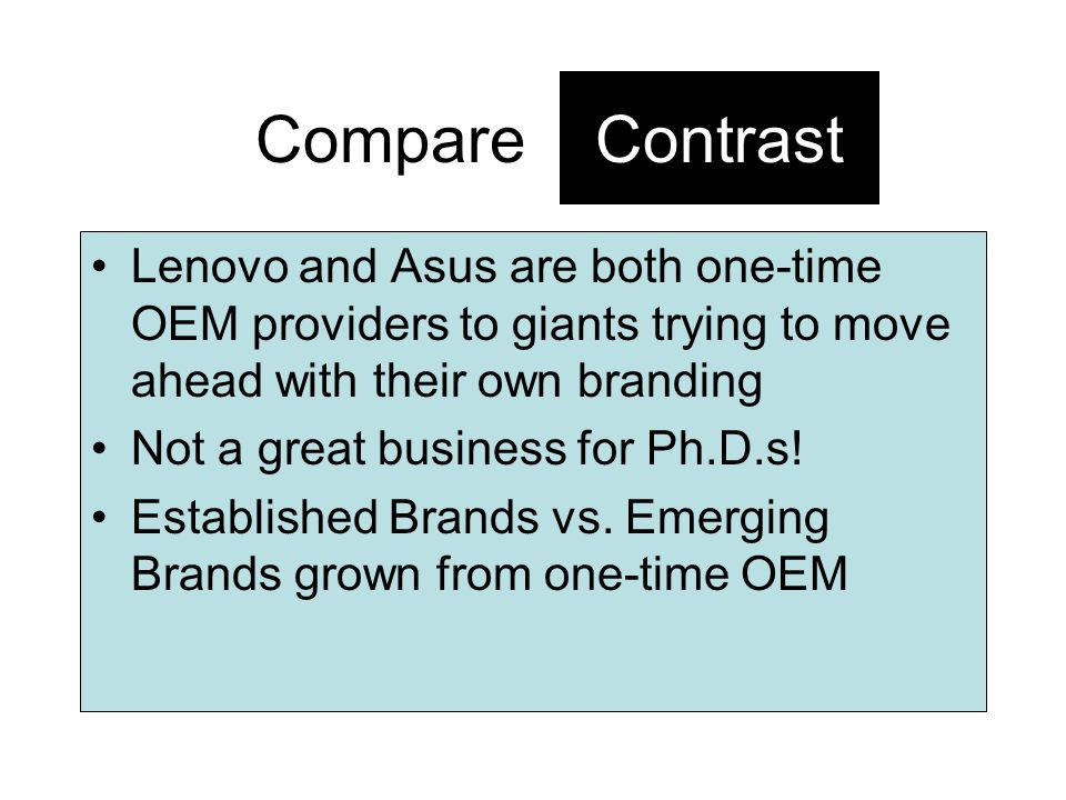 Compare Contrast. Lenovo and Asus are both one-time OEM providers to giants trying to move ahead with their own branding.