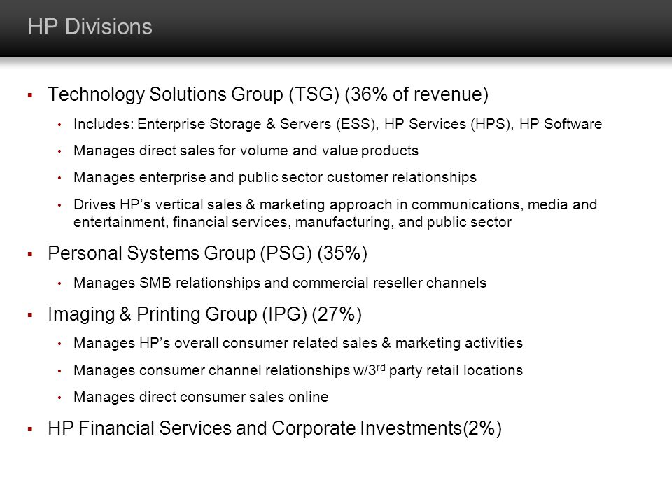 HP Divisions Technology Solutions Group (TSG) (36% of revenue)