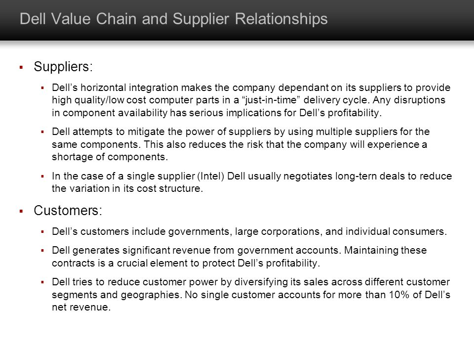 Dell Value Chain and Supplier Relationships