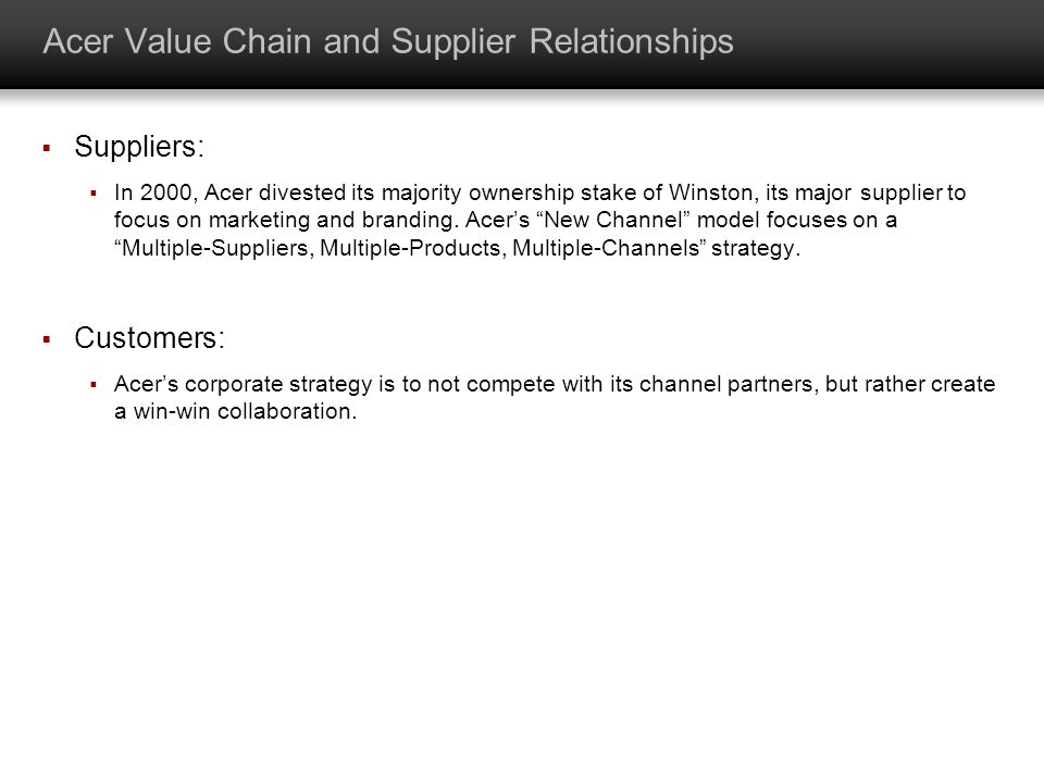 acer value chain analysis acer 3 pc value chain analysis mba 290g1  4 acer value chain and its  dependencies  27 acer value chain multi-product and services + multi-brand  strategy.