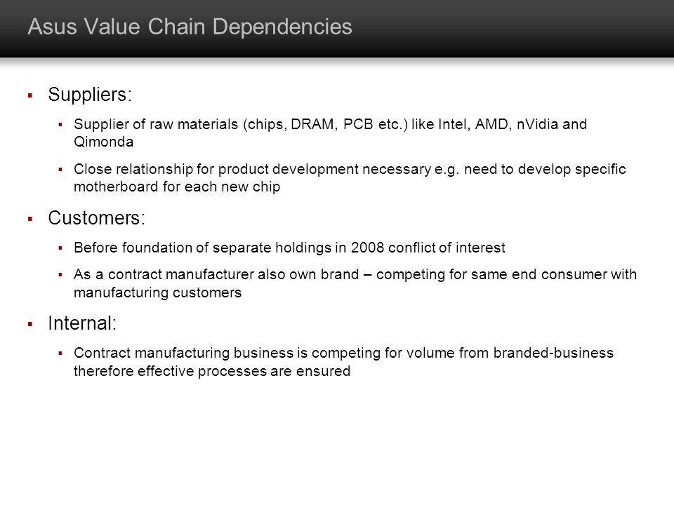 Asus Value Chain Dependencies