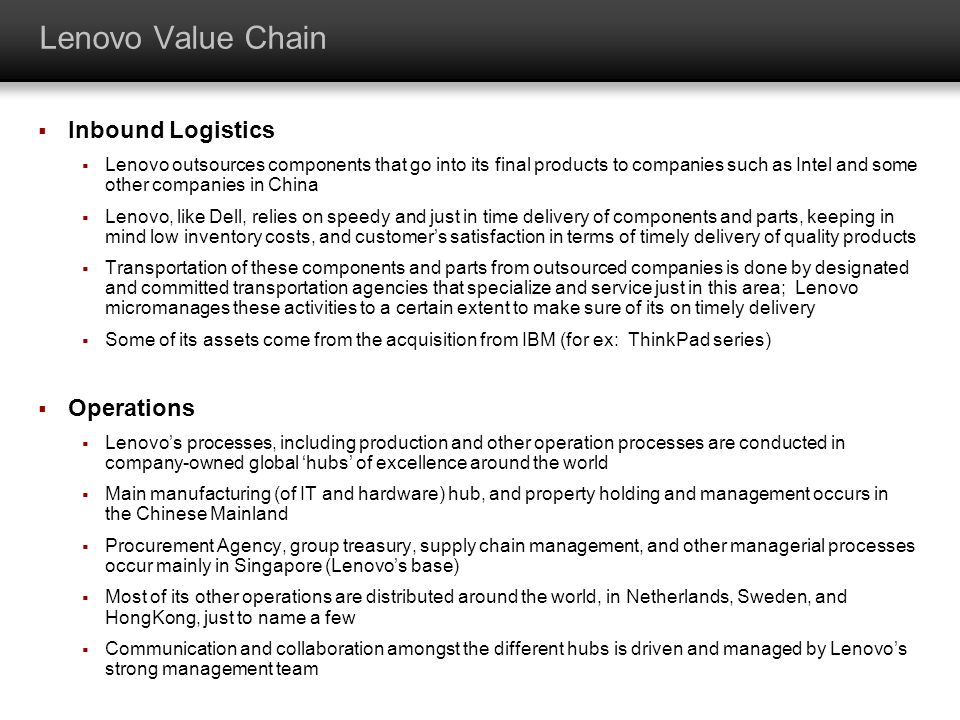 Lenovo Value Chain Inbound Logistics Operations