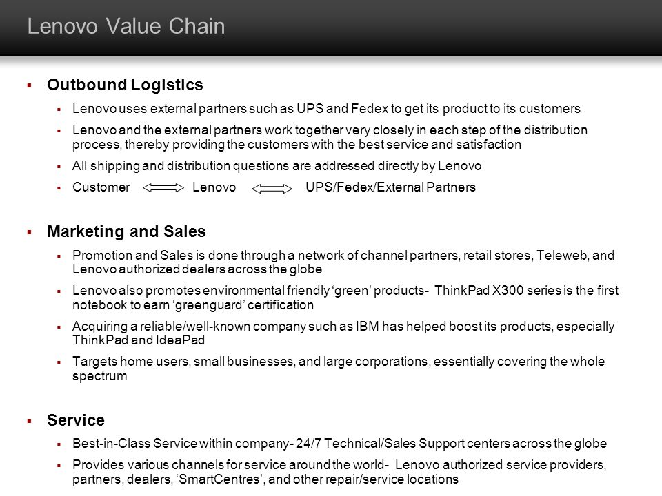 Lenovo Value Chain Outbound Logistics Marketing and Sales Service