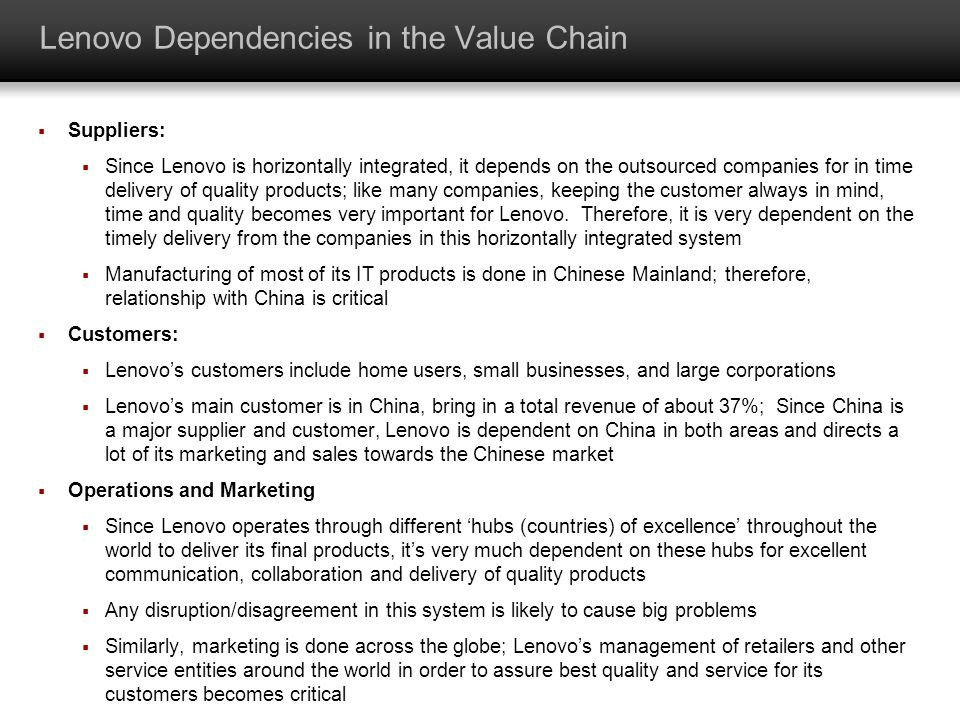 Lenovo Dependencies in the Value Chain