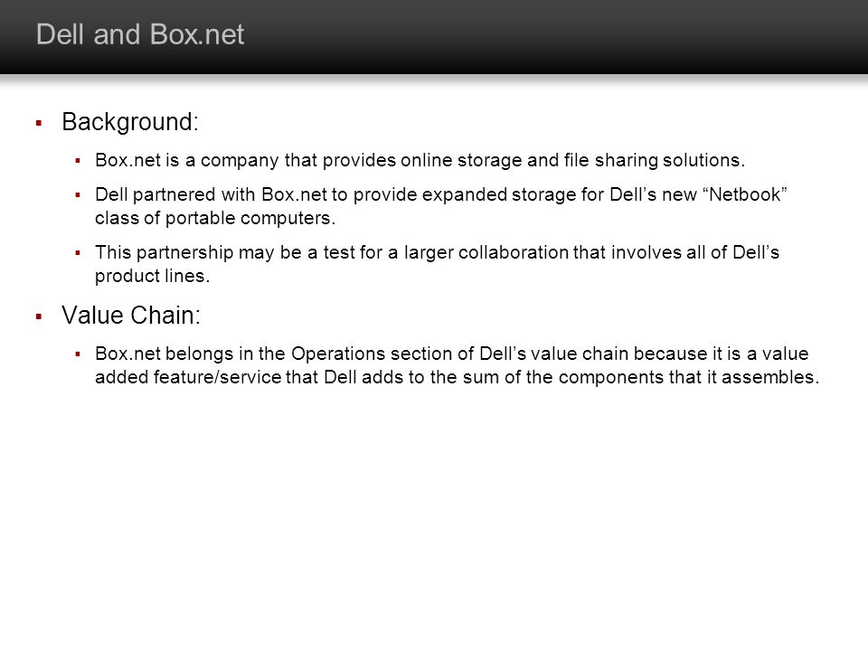 Dell and Box.net Background: Value Chain: