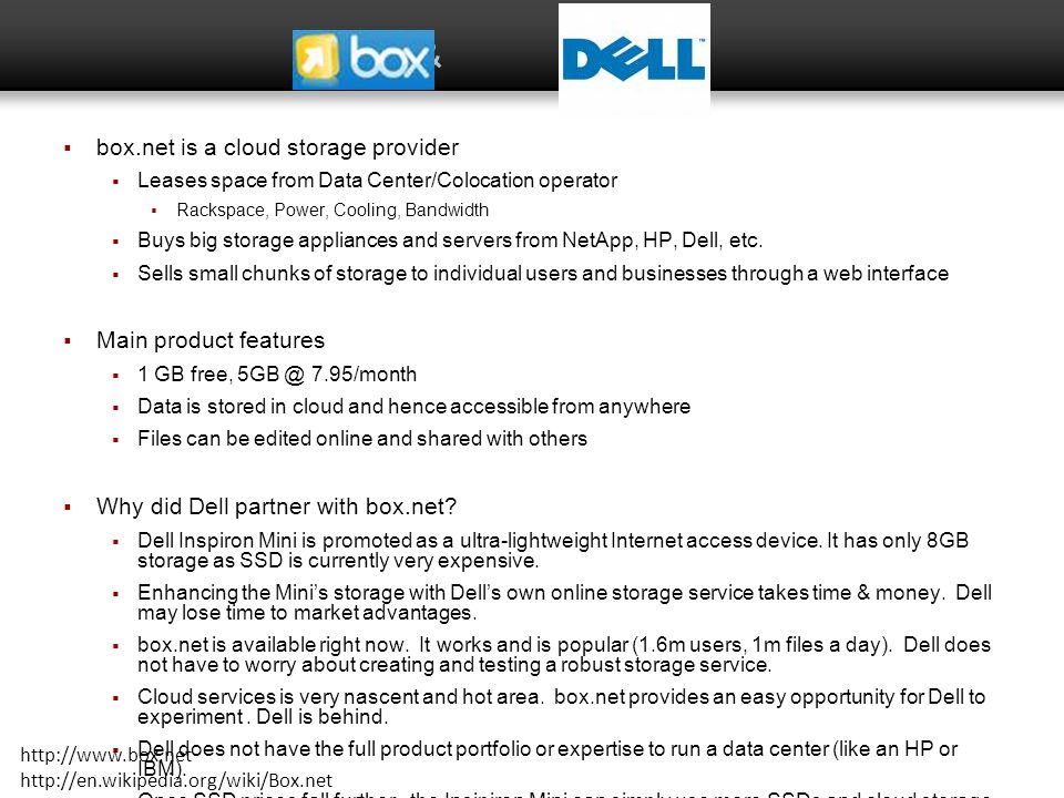 & box.net is a cloud storage provider Main product features