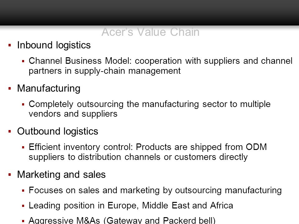 Acer's Value Chain Inbound logistics Manufacturing Outbound logistics