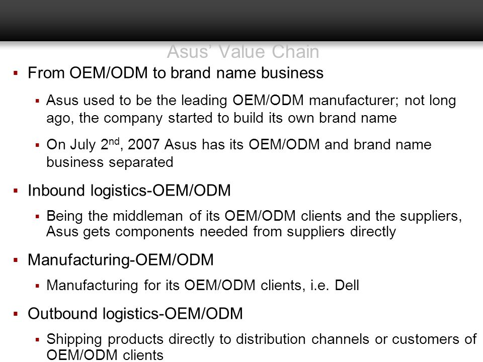 Asus' Value Chain From OEM/ODM to brand name business