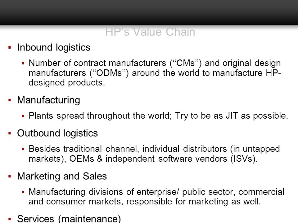 HP's Value Chain Inbound logistics Manufacturing Outbound logistics