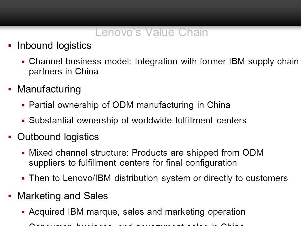 Lenovo's Value Chain Inbound logistics Manufacturing