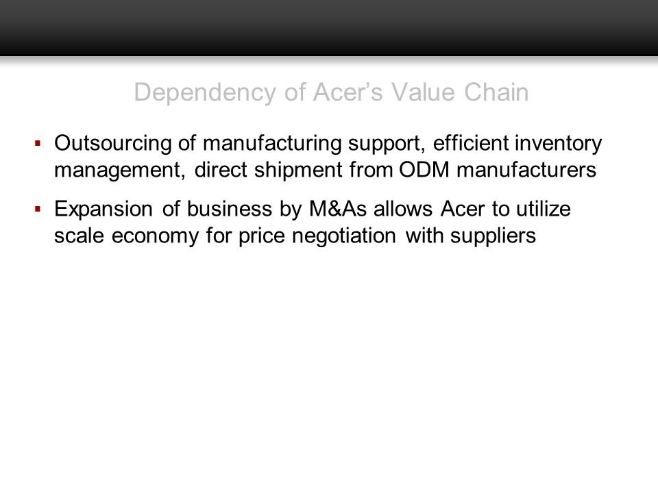 Dependency of Acer's Value Chain