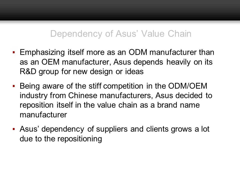 Dependency of Asus' Value Chain