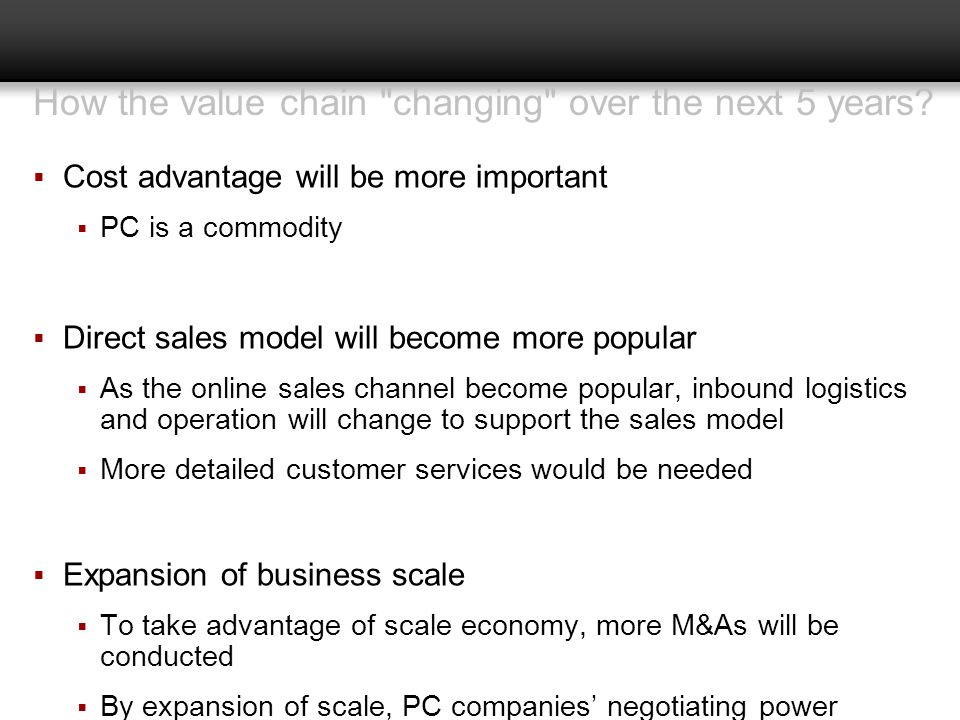 How the value chain changing over the next 5 years