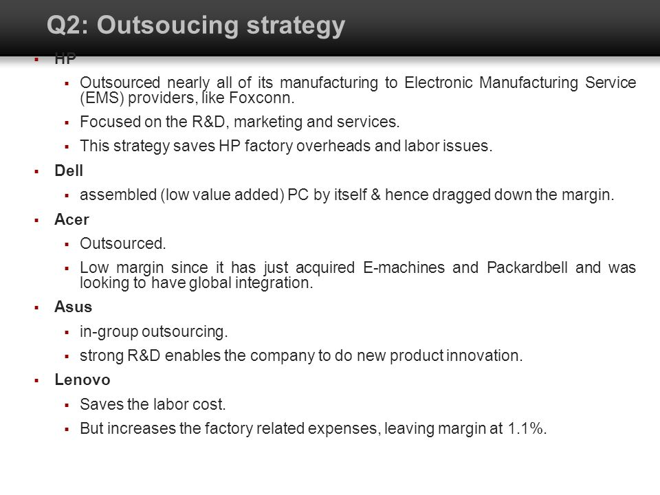 Q2: Outsoucing strategy