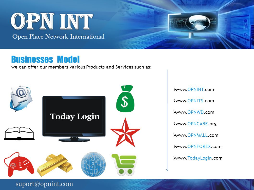 Businesses Model we can offer our members various Products and Services such as: www.OPNINT.com. www.OPNITS.com.