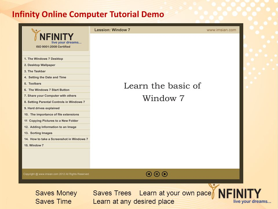 Infinity Online Computer Tutorial Demo