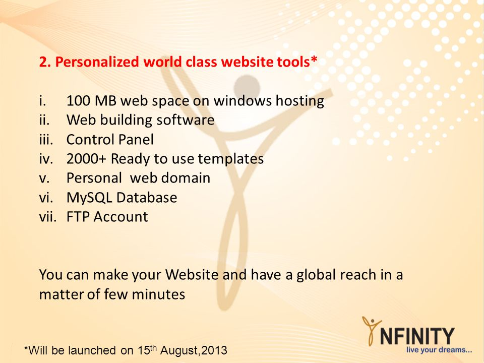 2. Personalized world class website tools*