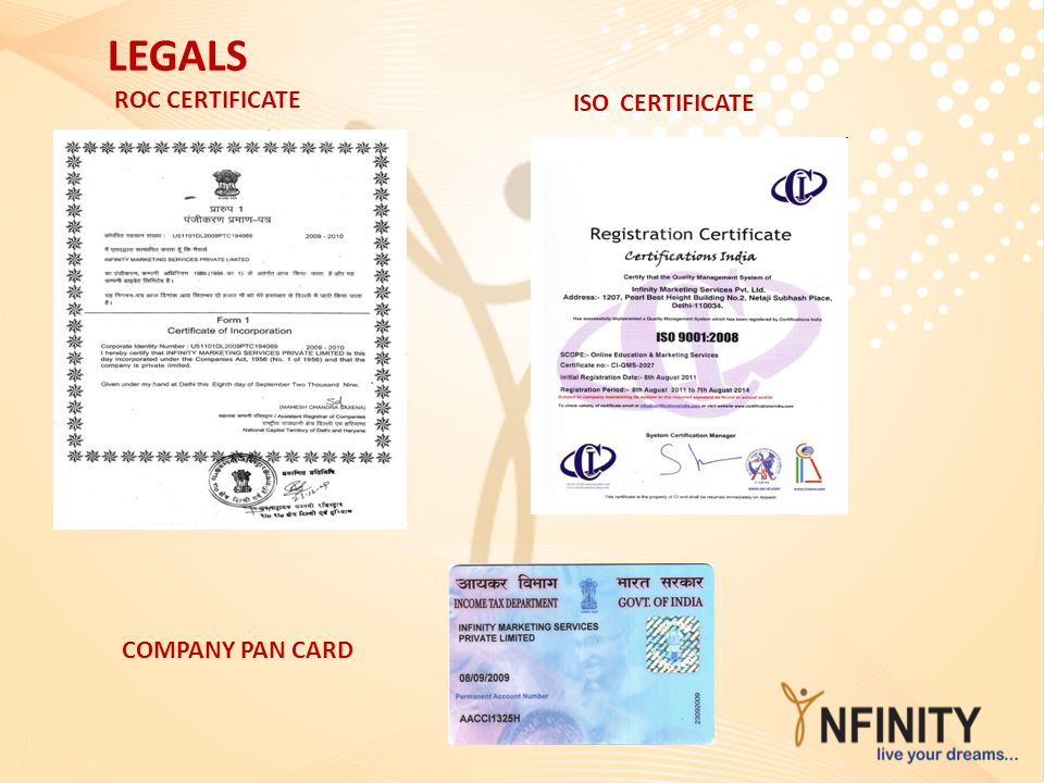 LEGALS ISO CERTIFICATE ROC CERTIFICATE COMPANY PAN CARD