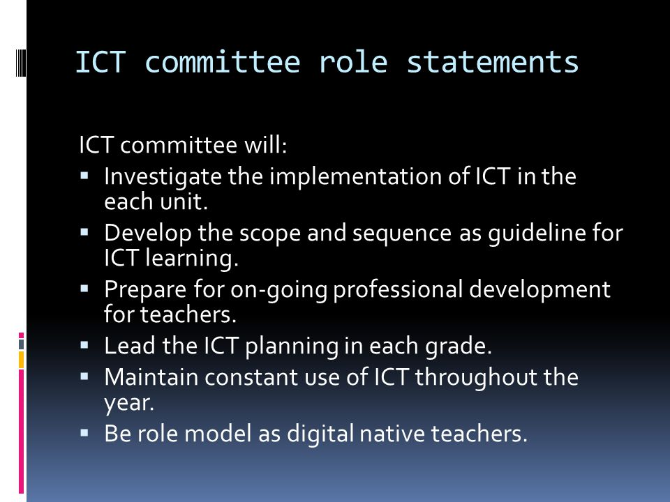 ICT committee role statements