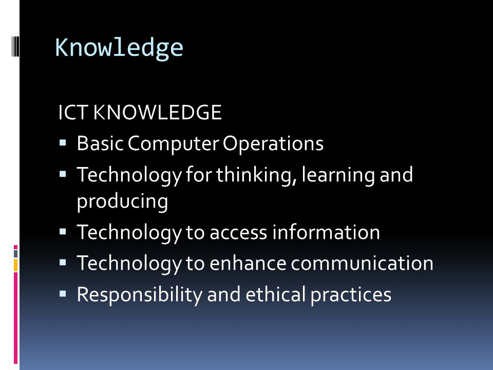 Knowledge ICT KNOWLEDGE Basic Computer Operations