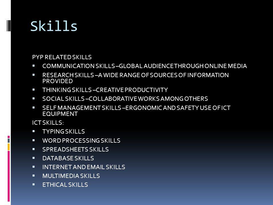 Skills PYP RELATED SKILLS