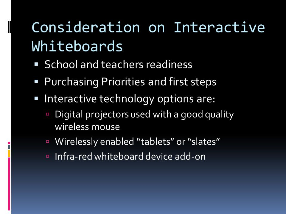 Consideration on Interactive Whiteboards