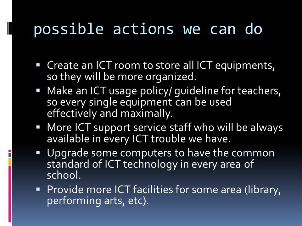 possible actions we can do