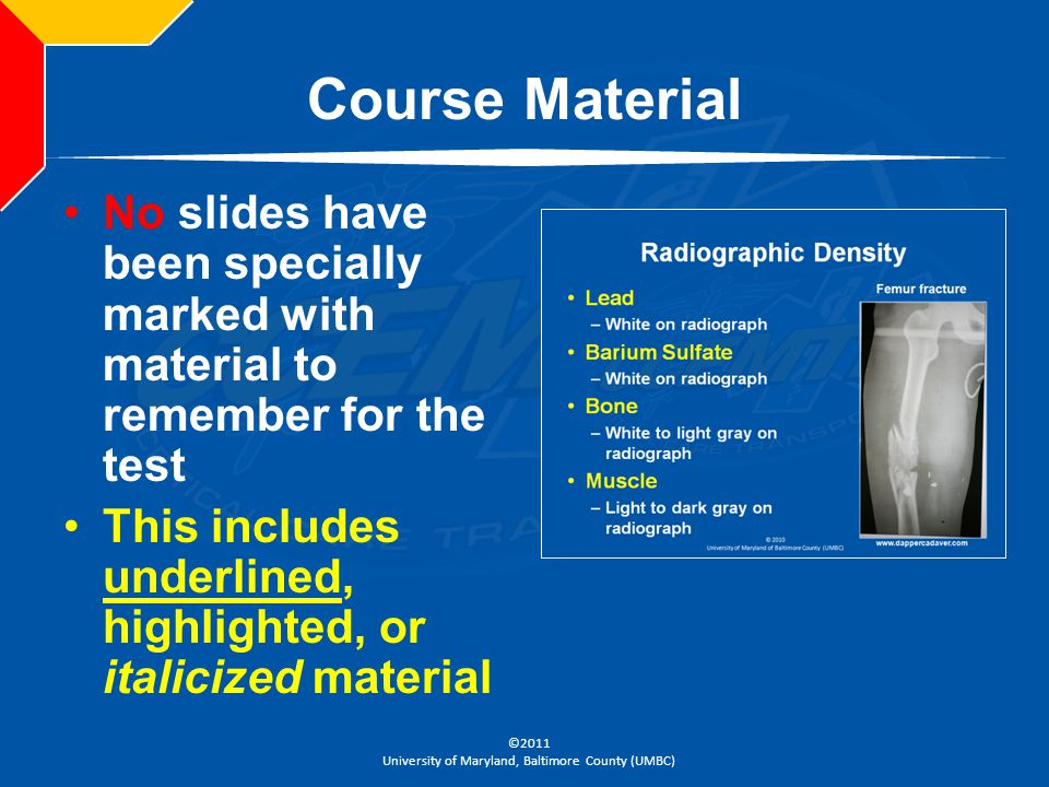 Course Material No slides have been specially marked with material to remember for the test.