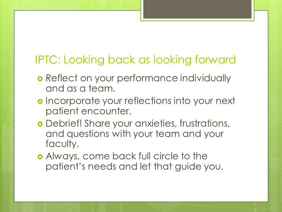 IPTC: Looking back as looking forward