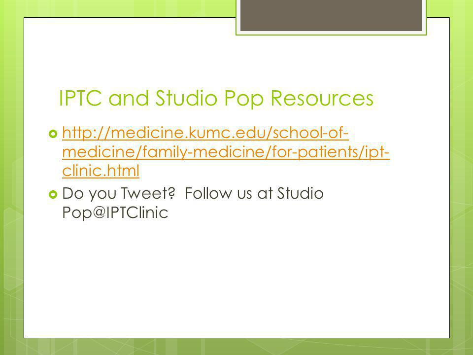 IPTC and Studio Pop Resources