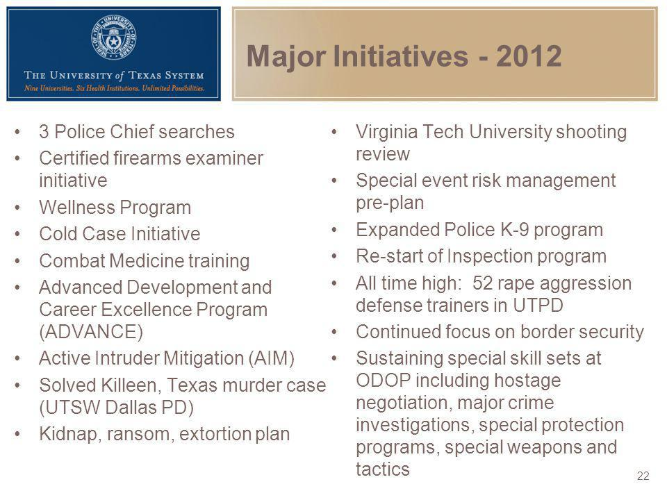 Major Initiatives - 2012 3 Police Chief searches