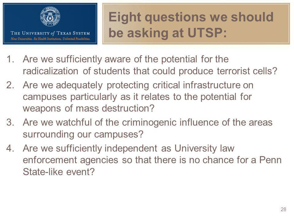 Eight questions we should be asking at UTSP:
