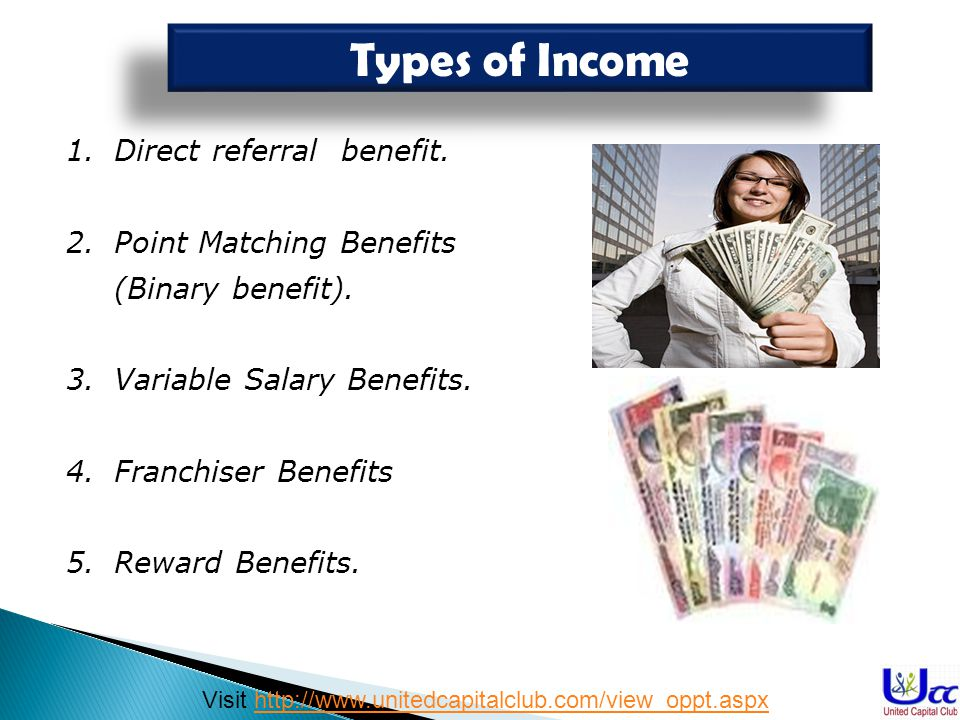 Types of Income Direct referral benefit.