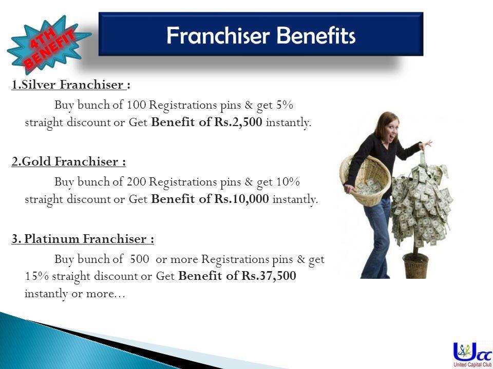 Franchiser Benefits 1.Silver Franchiser :