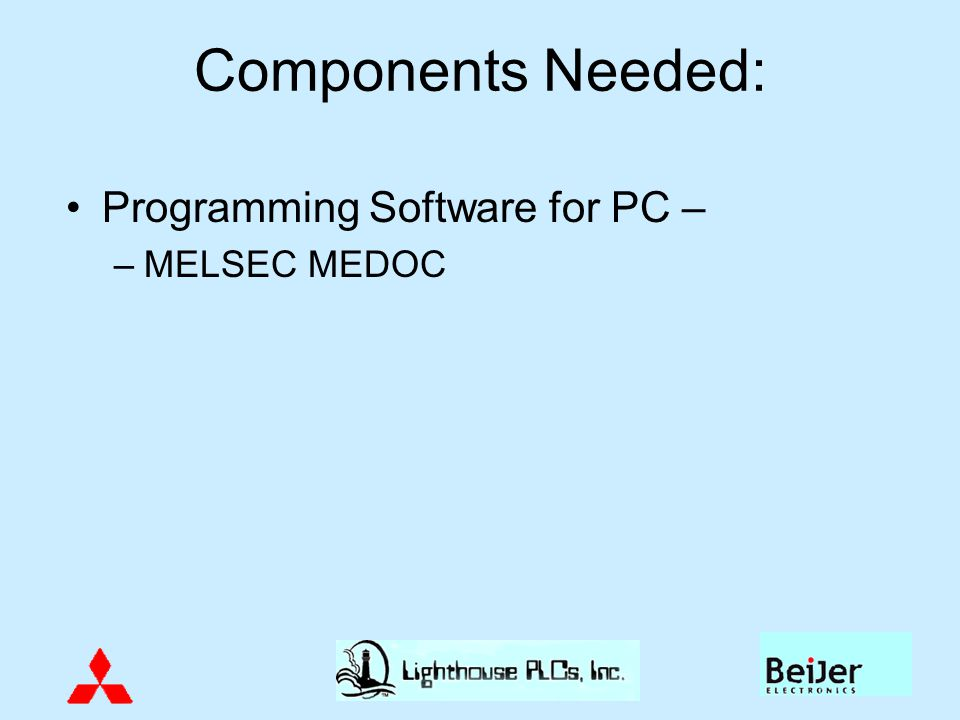 Components Needed: Programming Software for PC – MELSEC MEDOC