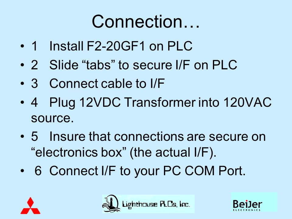 Connection… 1 Install F2-20GF1 on PLC