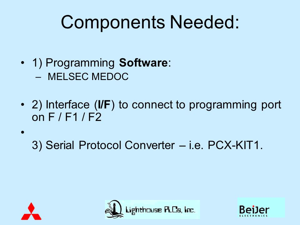 Components Needed: 1) Programming Software: