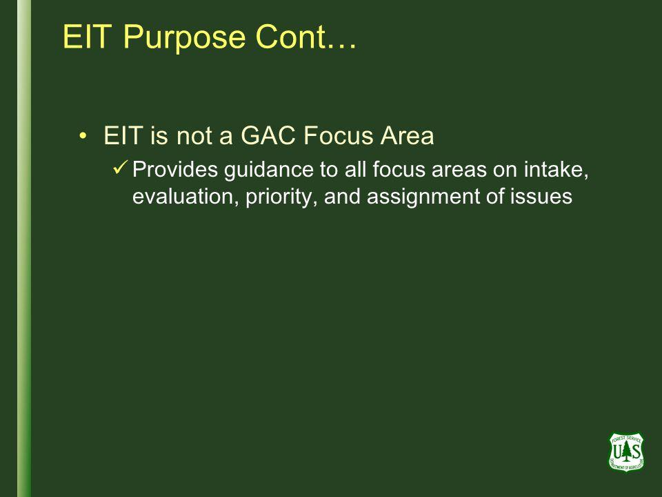 EIT Purpose Cont… EIT is not a GAC Focus Area