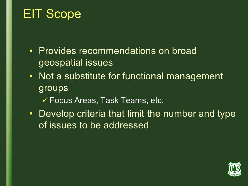 EIT Scope Provides recommendations on broad geospatial issues