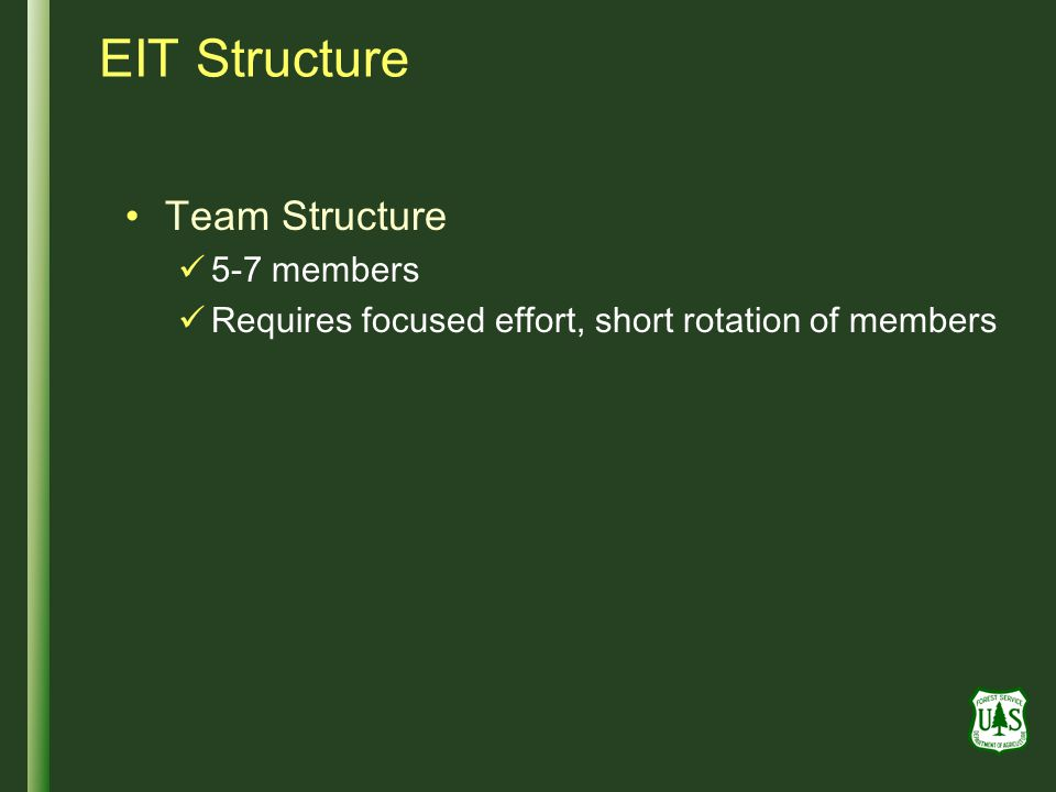EIT Structure Team Structure 5-7 members