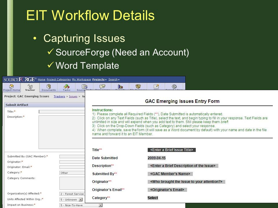 EIT Workflow Details Capturing Issues SourceForge (Need an Account)