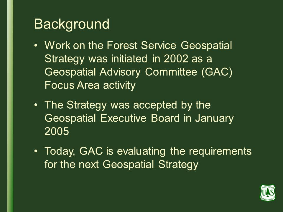 Background Work on the Forest Service Geospatial Strategy was initiated in 2002 as a Geospatial Advisory Committee (GAC) Focus Area activity.