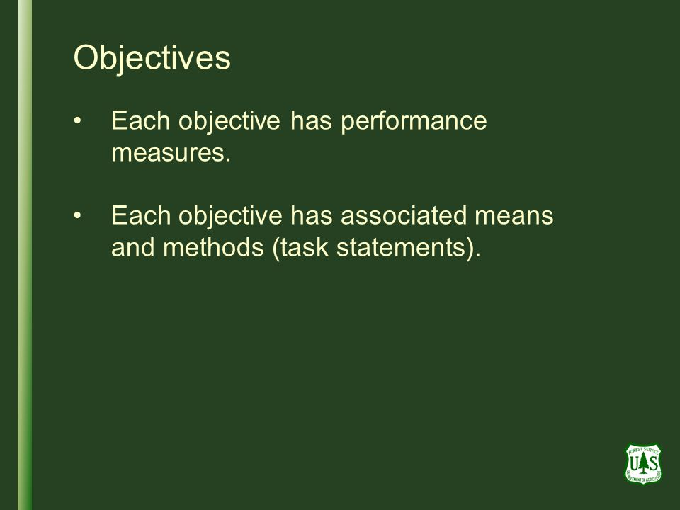 Objectives Each objective has performance measures.