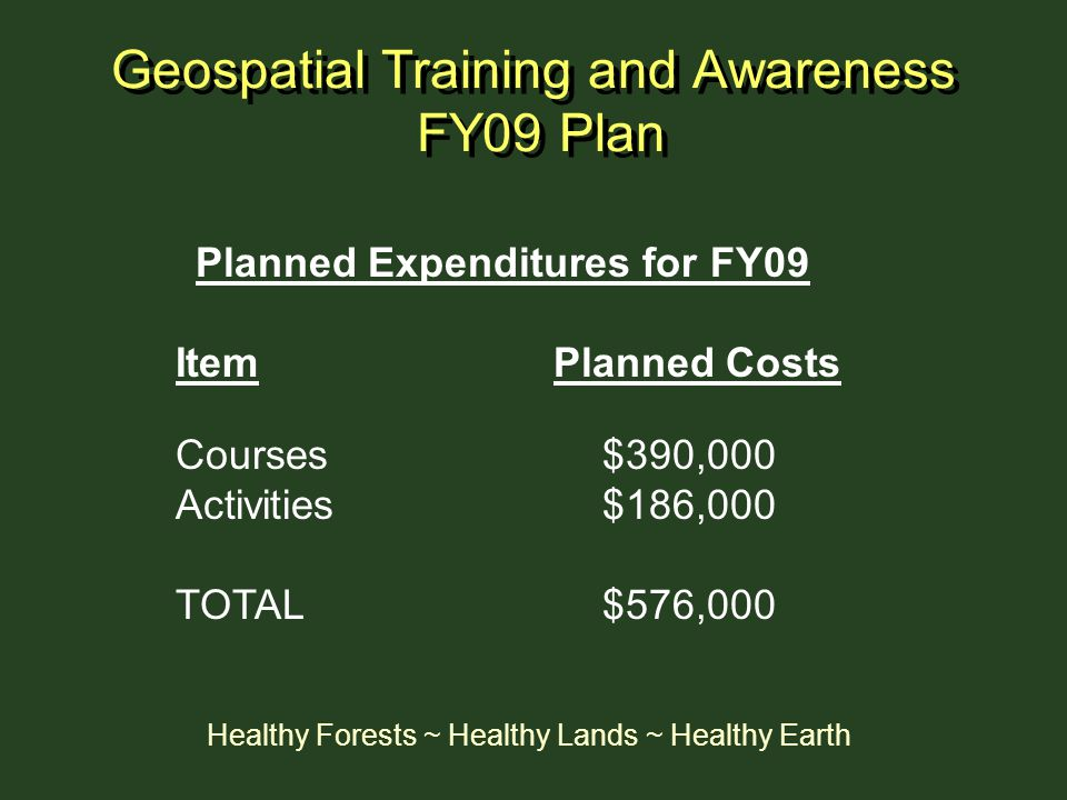 Geospatial Training and Awareness FY09 Plan
