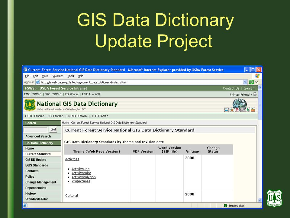 GIS Data Dictionary Update Project