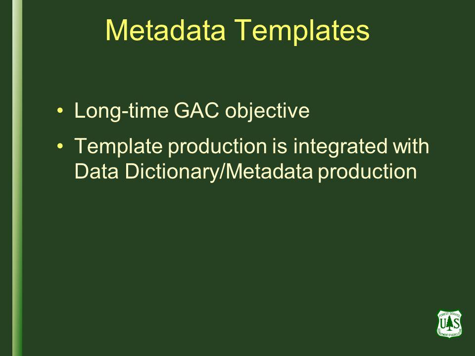 Metadata Templates Long-time GAC objective