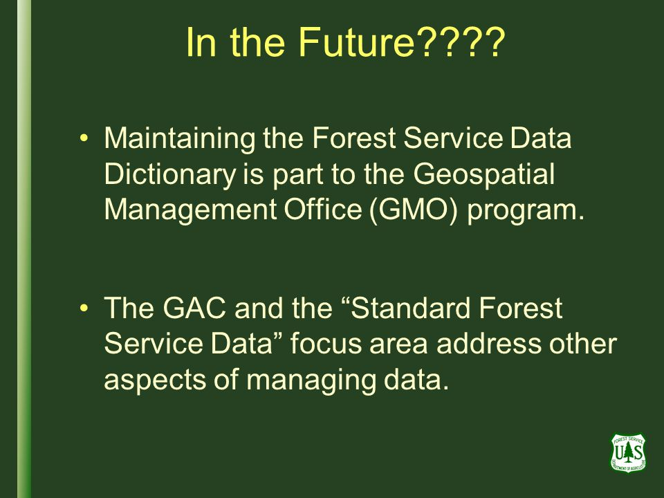 In the Future Maintaining the Forest Service Data Dictionary is part to the Geospatial Management Office (GMO) program.