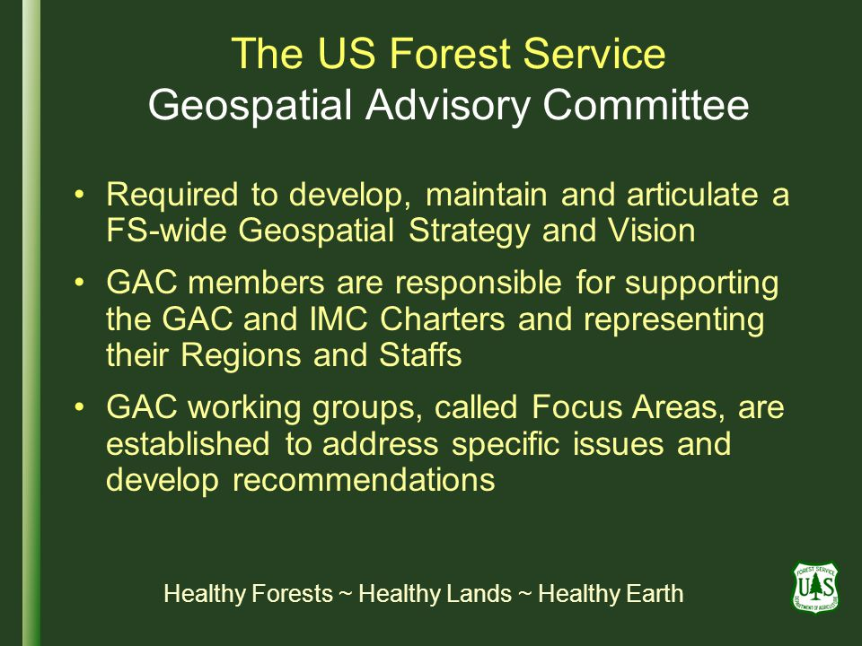 The US Forest Service Geospatial Advisory Committee