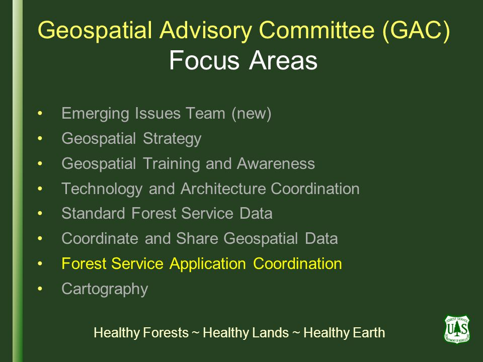 Geospatial Advisory Committee (GAC) Focus Areas