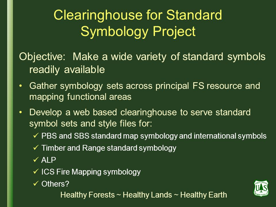 Clearinghouse for Standard Symbology Project